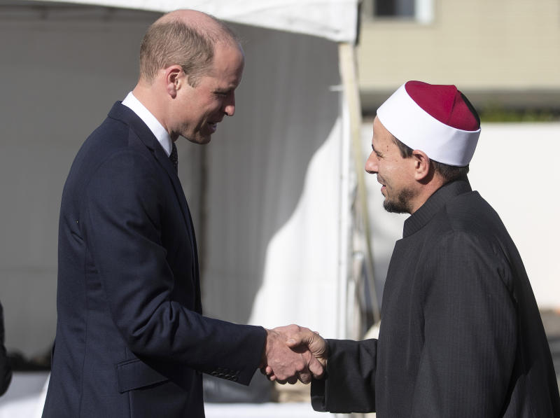 Britain's Prince William, left, meets Imam Gamal Fouda of Masjid Al Noor at the Al Noor mosque during a visit to the mosque in Christchurch, New Zealand, Friday, April 26, 2019. Prince William visited the one of the mosques where 50 people were killed and 50 others wounded in a March 15 attack by a white supremacist. (Joseph Johnson/Pool Photo via AP)