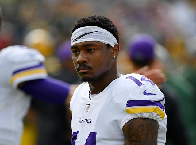 Despite a drama-filled week, WR Stefon Diggs will play for the Vikings on Sunday against the Giants. (Photo by Quinn Harris/Getty Images)