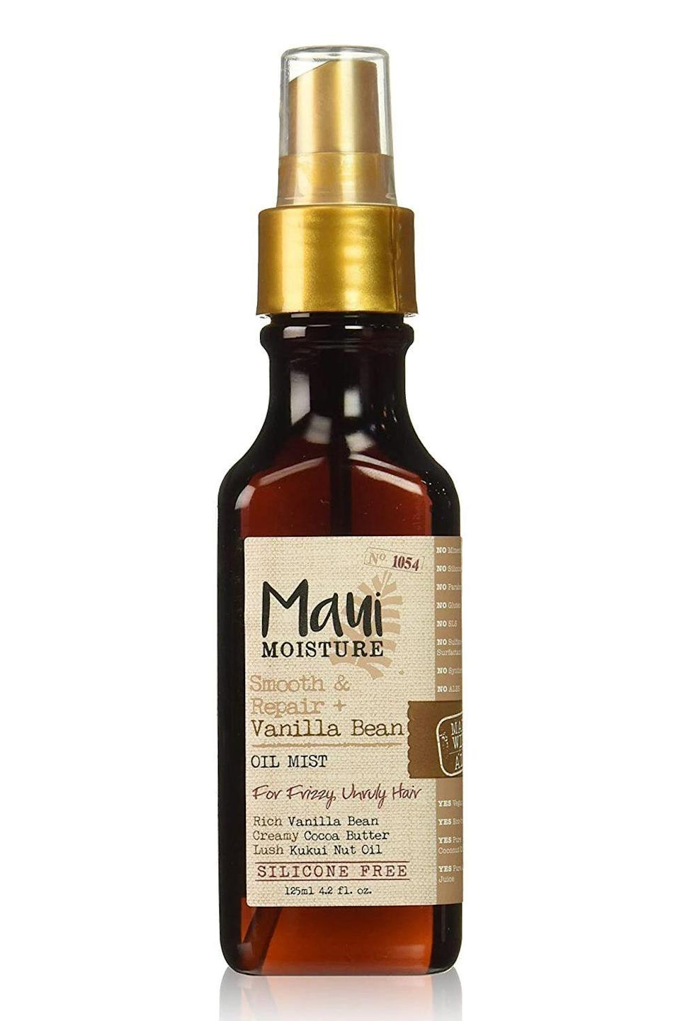 "<p><strong>Maui Moisture</strong></p><p>amazon.com</p><p><strong>$8.86</strong></p><p><a href=""https://www.amazon.com/dp/B06W9PBXW4?tag=syn-yahoo-20&ascsubtag=%5Bartid%7C10049.g.34357706%5Bsrc%7Cyahoo-us"" rel=""nofollow noopener"" target=""_blank"" data-ylk=""slk:Shop Now"" class=""link rapid-noclick-resp"">Shop Now</a></p><p>Your depleted bank account will love this budget-friendly drugstore option almost as much as your depleted strands will. This <strong>oil mist softens, smooths, and smells <em>ah</em>-mazing</strong>, all thanks to the emollient kukui nut oil, vanilla bean, aloe vera, and coconut oil. Oh, and it fights flyaways caused by humidity, too.</p>"