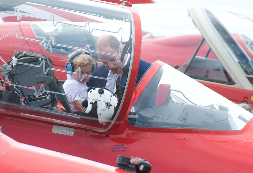 <p>He got to see aircraft up close and personal at The Royal International Air Tattoo at RAF Fairford in July 2016. (Zak Hussein - Corbis/Corbis via Getty Images)</p>