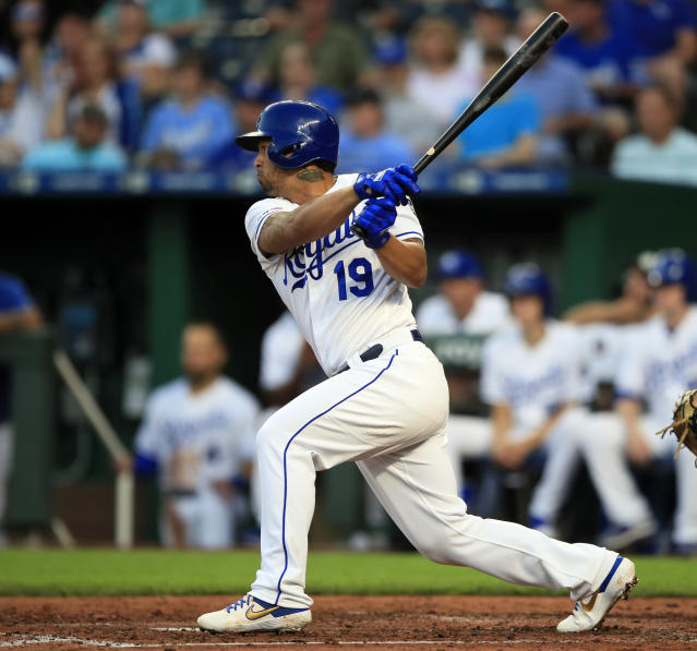 Kansas City Royals' Cheslor Cuthbert hits an RBI-single off Chicago White Sox starting pitcher Lucas Giolito during the fourth inning of a baseball game at Kauffman Stadium in Kansas City, Mo., Monday, July 15, 2019. (AP Photo/Orlin Wagner)