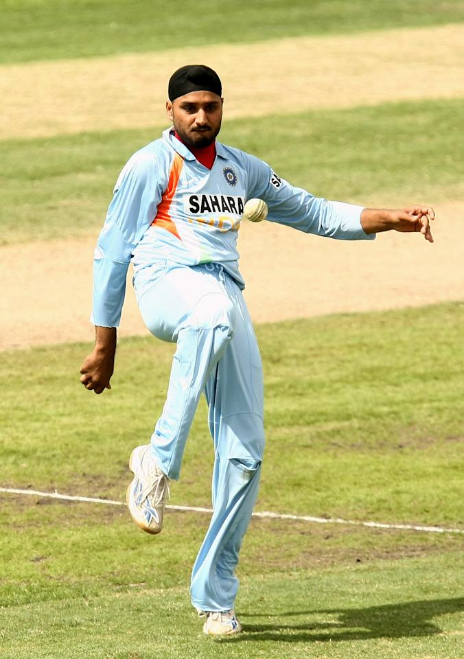 HOBART, AUSTRALIA - FEBRUARY 26:  Harbhajan Singh of India celebrates taking a wicket by kicking the ball during the Commonwealth Bank Series One Day International match between Sri Lanka and India at Bellerive Oval on February 26, 2008 in Hobart, Australia.  (Photo by Quinn Rooney/Getty Images)