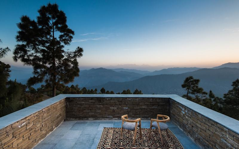 The Kumaon is a new hotel in the foothills of the Himalayas, with spectacular views of soaring peaks and plunging valleys from its 10 guest villas.