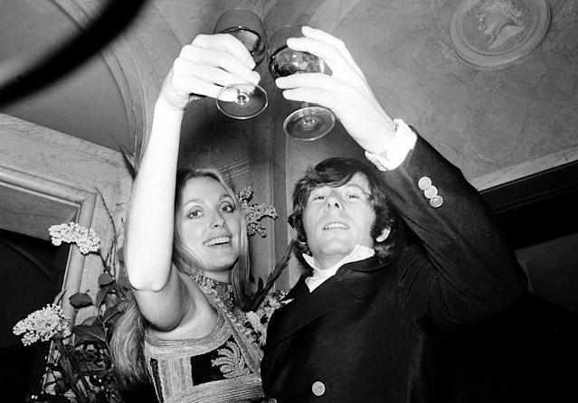 "<p>Film director Roman Polanski and his wife, Sharon Tate, lift their glasses in a toast at the premiere of his film ""Rosemary's Baby"" in London on Jan. 23, 1969. (Photo: AP) </p>"