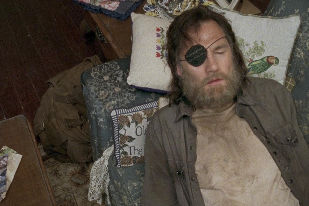 <p><strong>Season 4, Live Bait</strong><br />Lest you think intense, often tragically sad storylines don't leave any room for playful touches in <em>TWD</em> episodes, let us point to this, one of the all-time most clever Easter eggs in the series. In the episode in which The Governor meets the Chambler family, he rests his head on a pillow that has a parrot on it. No biggie, except that The Gov is wearing an eye patch, and the bird happens to be on the side of the pillow, making it look like he's a pirate with a parrot on his shoulder. Props for the props team on that one! (Photo: AMC) </p>