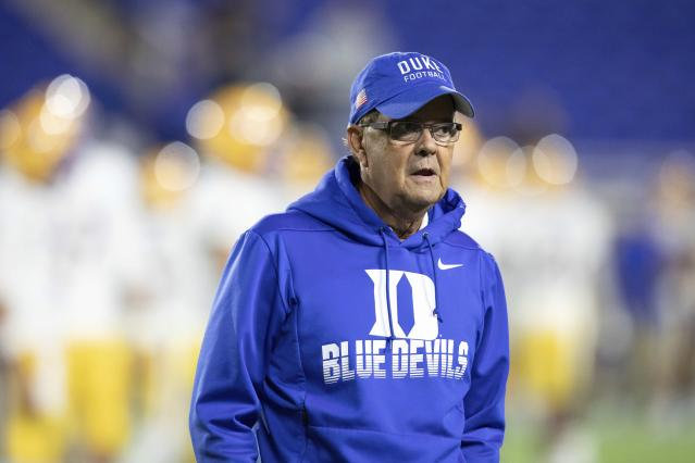 Duke coach David Cutcliffe walks on the field before the team's NCAA college football game against Pittsburgh in Durham, N.C., Saturday, Oct. 5, 2019. (AP Photo/Ben McKeown)