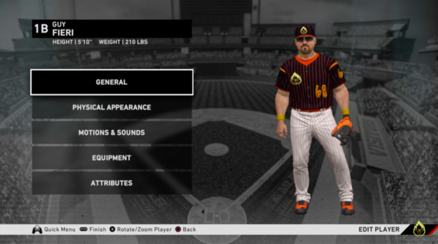 Guy Fieri and the Mayors of Flavortown look as good as they play. (Screen grab via MLB The Show 20)