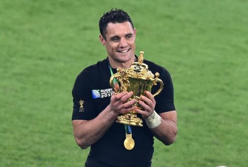 Dan Carter holds the Rugby World Cup after the All Blacks won the 2015 final