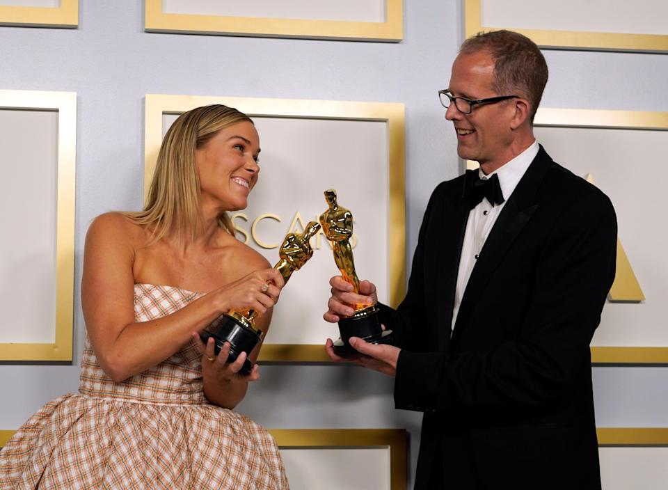 Dana Murray and Pete Docter, winners of the award for Best Animated Feature Film for 'Soul'EPA