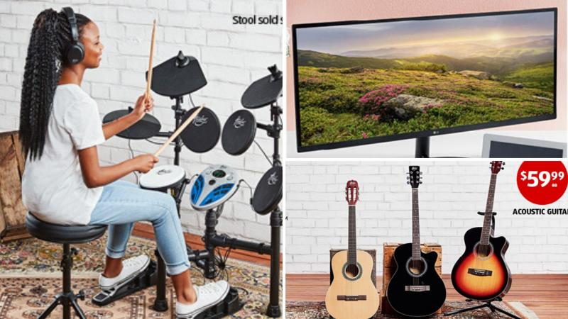 A drum kit, computer monitor and guitars on sale as Special Buys at Aldi.
