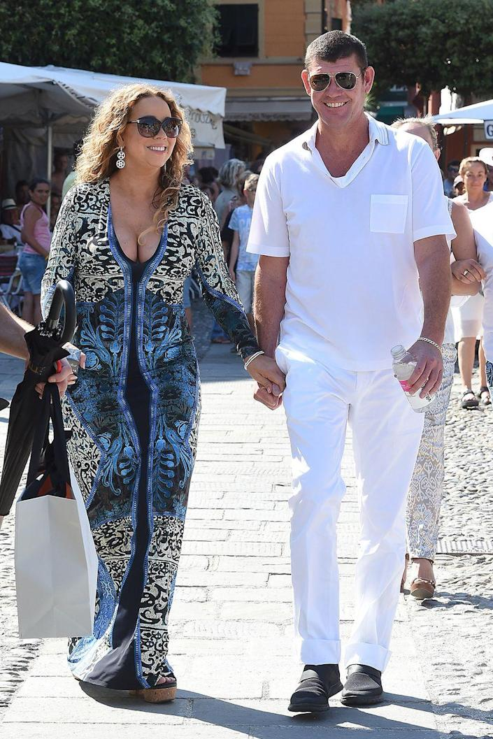 """<p>The duo became official in June 2015 and were engaged in January 2016 with a whopping 35-carat ring in New York City, according to <em><a class=""""link rapid-noclick-resp"""" href=""""https://people.com/music/mariah-carey-james-packer-relationship-timeline-early-sizzle-final-fizzle/"""" rel=""""nofollow noopener"""" target=""""_blank"""" data-ylk=""""slk:People"""">People</a></em>. They broke up that year after an epic blowout on vacation in Greece.</p>"""