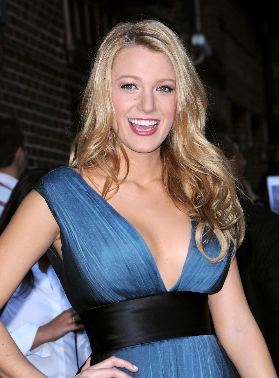 NEW YORK - AUGUST 28:  Blake Lively visits 'Late Show with David Letterman' at the Ed Sullivan Theatre on August 28, 2008 in New York City.  (Photo by James Devaney/WireImage)