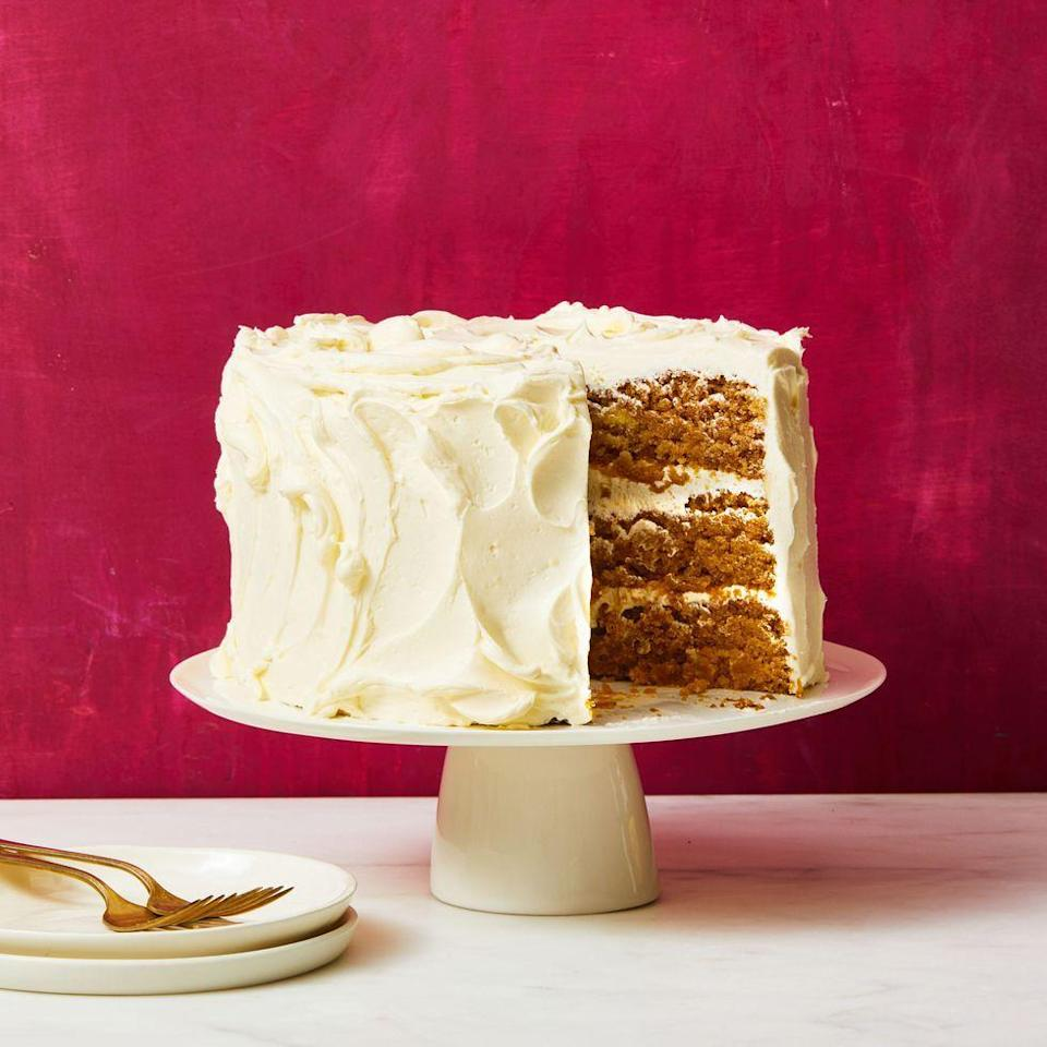"""<p>If mom follows a vegan diet (or someone else in your Mother's Day crew does), look no further than this recipe, which is completely dairy-free and completely delicious. </p><p><a href=""""https://www.goodhousekeeping.com/food-recipes/dessert/a35006218/vegan-apple-cake-recipe/"""" rel=""""nofollow noopener"""" target=""""_blank"""" data-ylk=""""slk:Get the recipe for Vegan Apple Cake »"""" class=""""link rapid-noclick-resp""""> <em>Get the recipe for Vegan Apple Cake »</em></a></p>"""
