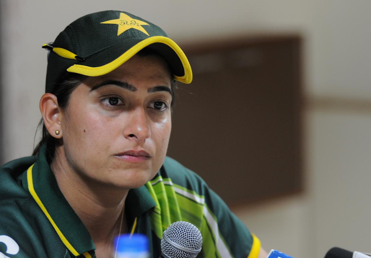 CUTTACK, INDIA - FEBRUARY 01:  Sana Mir captain of Pakistan addresses a press conference at the end of second match of ICC Womens World Cup between Australia and Pakistan, played at the Barabati stadium on February 1, 2013 in Cuttack, India.  (Photo by Pal Pillai-ICC/ICC via Getty Images)