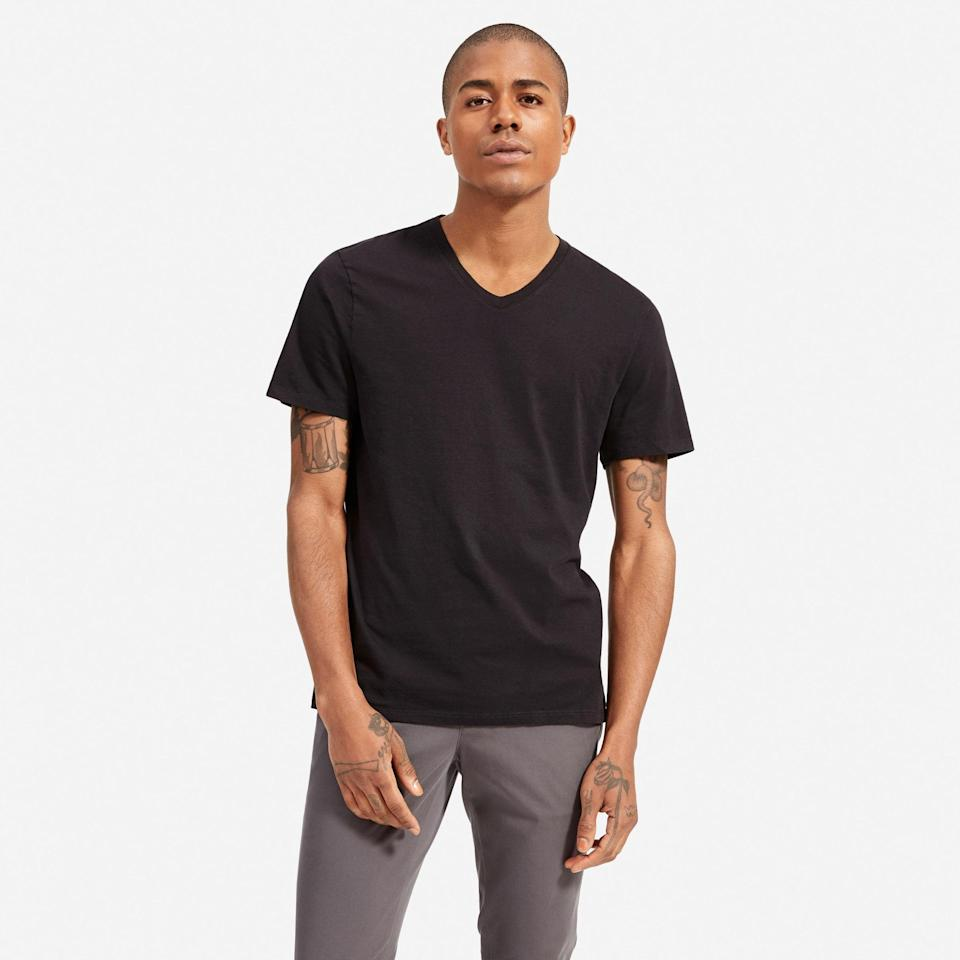"""<p><strong>Everlane </strong></p><p>everlane.com</p><p><strong>$18.00</strong></p><p><a href=""""https://go.redirectingat.com?id=74968X1596630&url=https%3A%2F%2Fwww.everlane.com%2Fproducts%2Fmens-organic-cotton-v-neck-tee-black&sref=https%3A%2F%2Fwww.goodhousekeeping.com%2Fholidays%2Fgift-ideas%2Fg399%2Fgifts-for-men%2F"""" rel=""""nofollow noopener"""" target=""""_blank"""" data-ylk=""""slk:Shop Now"""" class=""""link rapid-noclick-resp"""">Shop Now</a></p><p>This men's T-shirt doesn't look like anything fancy at first — but when he feels just how soft the cotton is, he'll never want to take it off. </p>"""