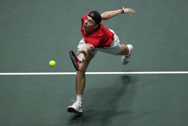 Denis Shapovalov could not cope with Rafael Nadal as Canada lost the Davis Cup final to Spain (Bernat Armangue/AP)