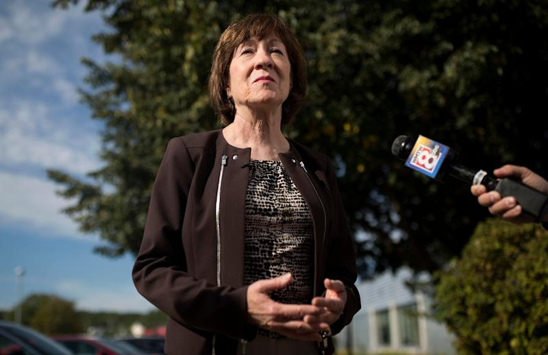 Sen. Susan Collins (R-Maine) speaks with members of the press on Sept. 7, 2018 regarding the nomination of Brett Kavanaugh to the Supreme Court. (Photo: Portland Press Herald via Getty Images)
