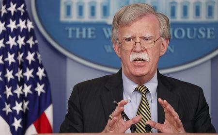 U.S. National Security Advisor John Bolton answers questions from reporters in the White House briefing room in Washington, U.S., October 3, 2018. REUTERS/Jonathan Ernst
