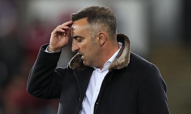 Carlos Carvalhal reacts during a home defeat by Southampton which has all but condemned the club to relegation from the Premier League.