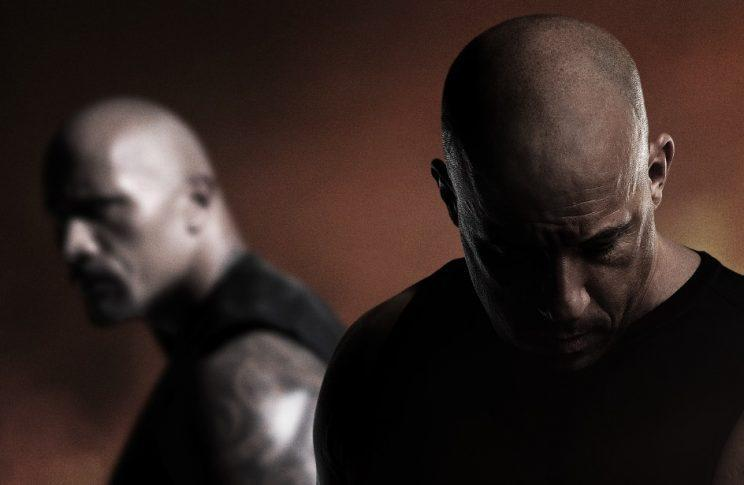 """""""Family no more?"""" Johnson and Diesel on the 'Fast & Furious 8' poster (Photo: Universal)"""