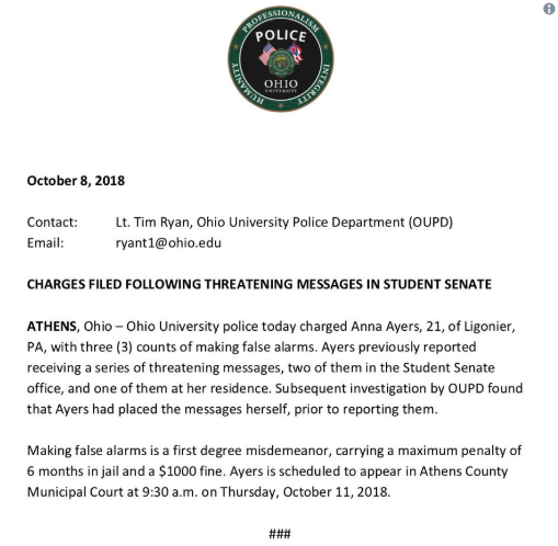 Ohio University student charged with 'false alarms'