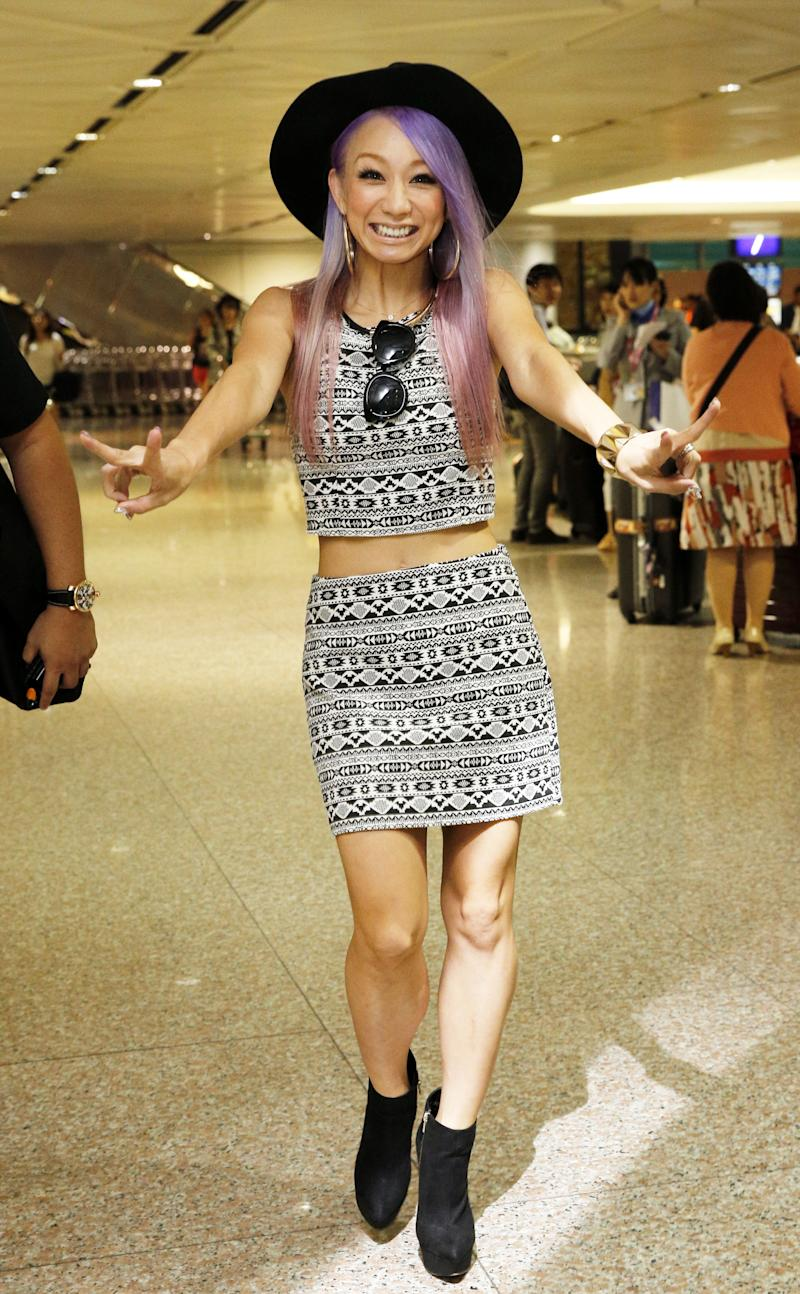 TAIPEI, TAIWAN - JULY 10: (CHINA OUT, TAIWAN OUT) Japanese singer Koda Kumi poses at Taoyuan International Airport after arriving in Taipei on July 10, 2015 in Taipei, Taiwan of China. (Photo by Visual China Group via Getty Images/Visual China Group via Getty Images)