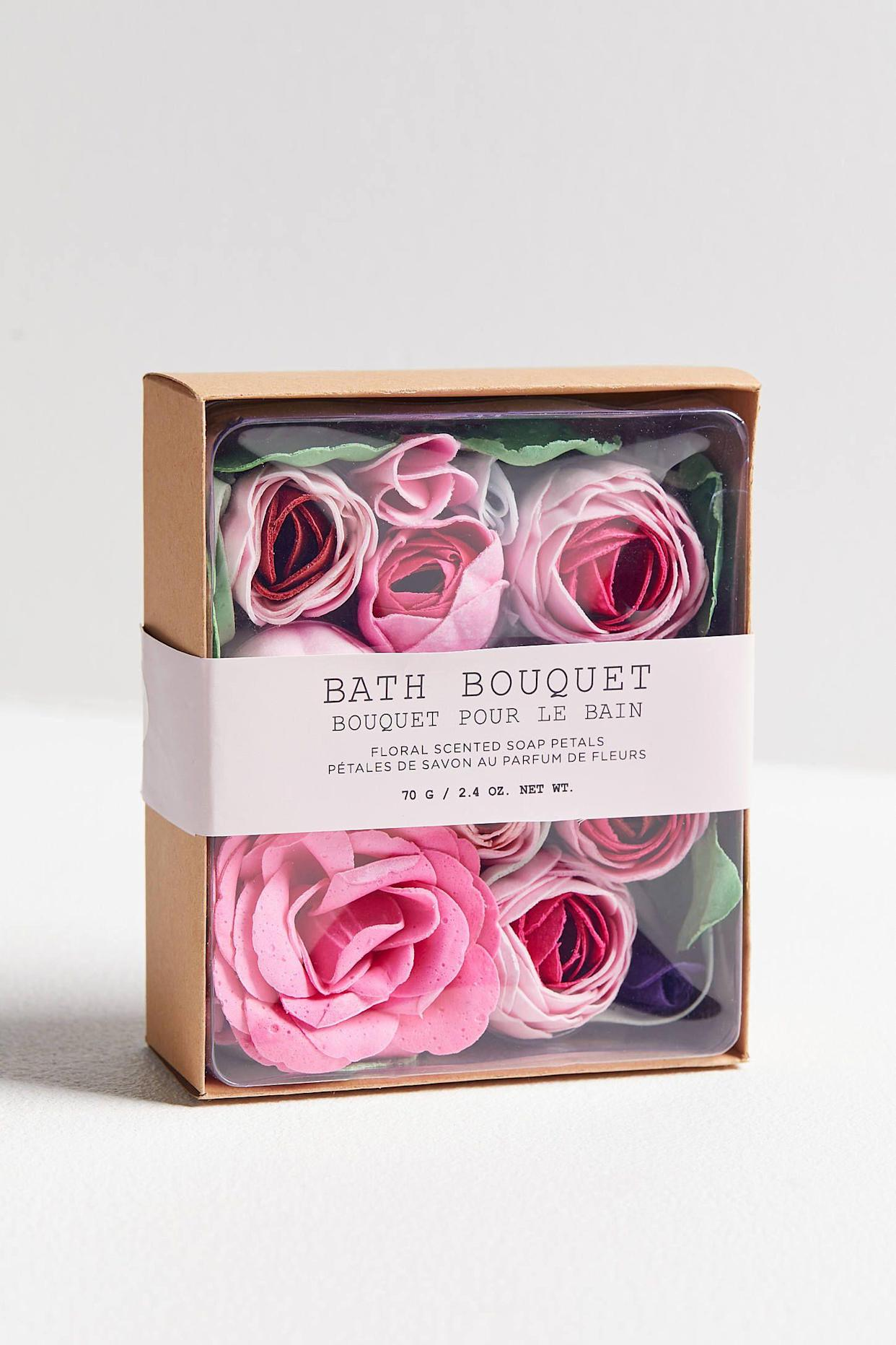 "<p><strong>The Gift: Bath Bouquet</strong><br>Again, skip the real deal flowers and try a bath bouquet instead — set the sexy scene with a trail of soap petals leading your S.O. to a drawn tub for a dual V-Day soak.</p> <br> <br> <strong>Urban Outfitters</strong> Bath Bouquet Floral-Scented Soap Petals, $14, available at <a href=""https://www.urbanoutfitters.com/shop/bath-bouquet-floral-scented-soap-petals?category=makeup-gift-sets&color=065&type=DEFAULT"" rel=""nofollow noopener"" target=""_blank"" data-ylk=""slk:Urban Outfitters"" class=""link rapid-noclick-resp"">Urban Outfitters</a>"