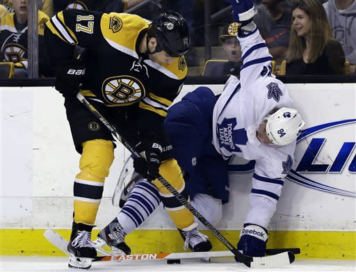 Boston Bruins left wing Milan Lucic (17) and Toronto Maple Leafs center Mikhail Grabovski (84) vie for the puck along the boards during the second period in Game 2 of a first-round NHL hockey playoff series in Boston, Saturday, May 4, 2013. (AP Photo/Elise Amendola)