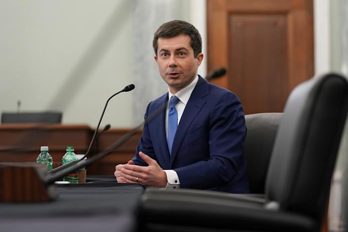 Pete Buttigieg, Biden administration nominee for secretary of transportation, speaks during a Senate Commerce, Science and Transportation Committee confirmation hearing (Getty Images)