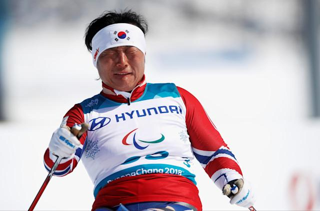 Cross-Country Skiing - Pyeongchang 2018 Winter Paralympics - Ladies' 12 KM - Sitting - Alpensia Biathlon Centre - Pyeongchang, South Korea - March 11, 2018 - Lee Do-yeon of South Korea competes. REUTERS/Carl Recine