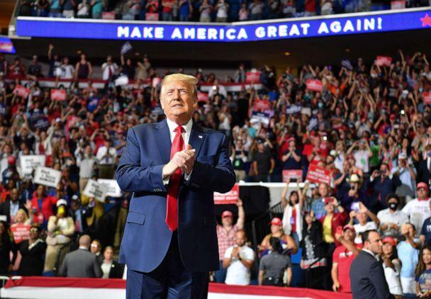 PHOTO: Donald Trump arrives for a campaign rally at the BOK Center on June 20, 2020 in Tulsa, Oklahoma. (Nicholas Kamm/AFP via Getty Images)