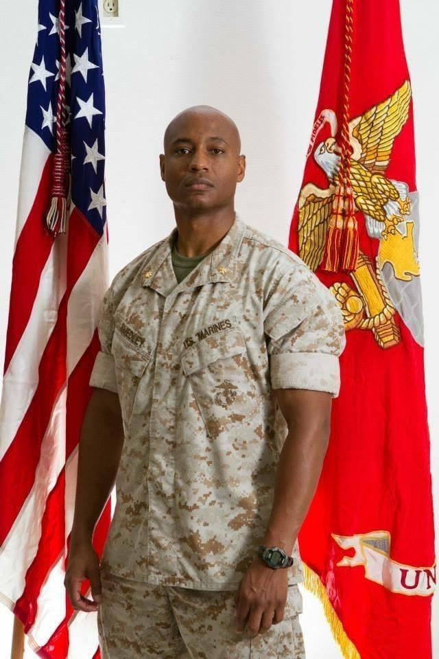 Maj. Jason Smedley says he was attacked and beaten by two white Marines.