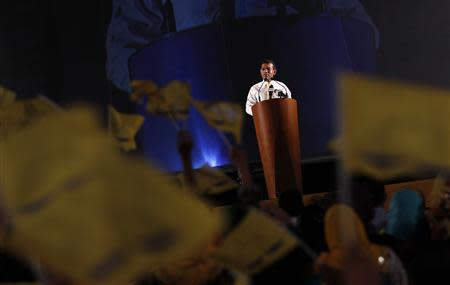 Maldives presidential candidate Nasheed addresses his supporters during a political rally ahead of the presidential election in Male