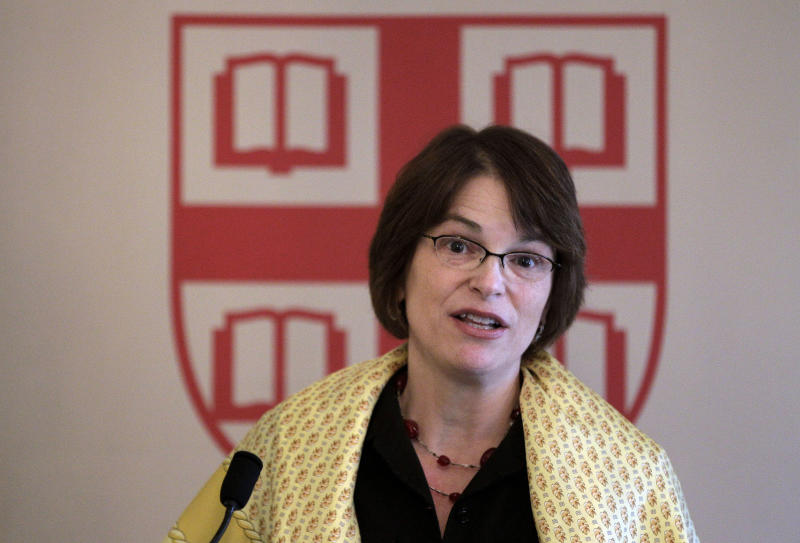 Princeton University economist and Dean of the Woodrow Wilson School of Public and International Affairs Christina Hull Paxson addresses the media before she is introduced as the 19th President of Brown University in Providence, RI., Friday, March 2, 2012. (AP Photo/Stephan Savoia)