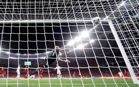 <span>The ball sails past Karius</span> <span>Credit: &nbsp;REUTERS </span>
