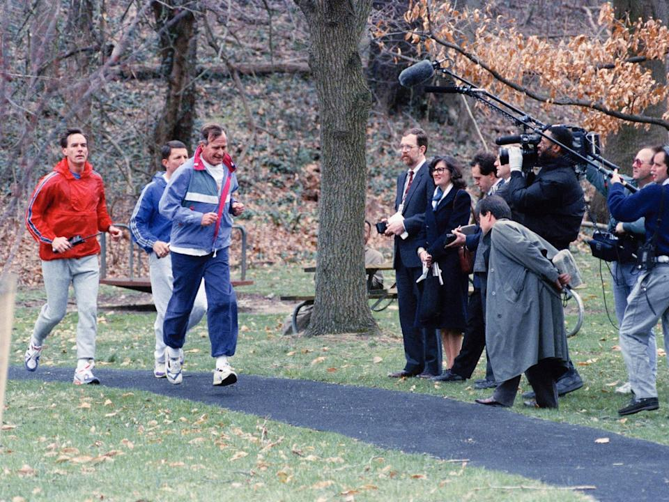 George HW Bush jogs at the vice president's residence