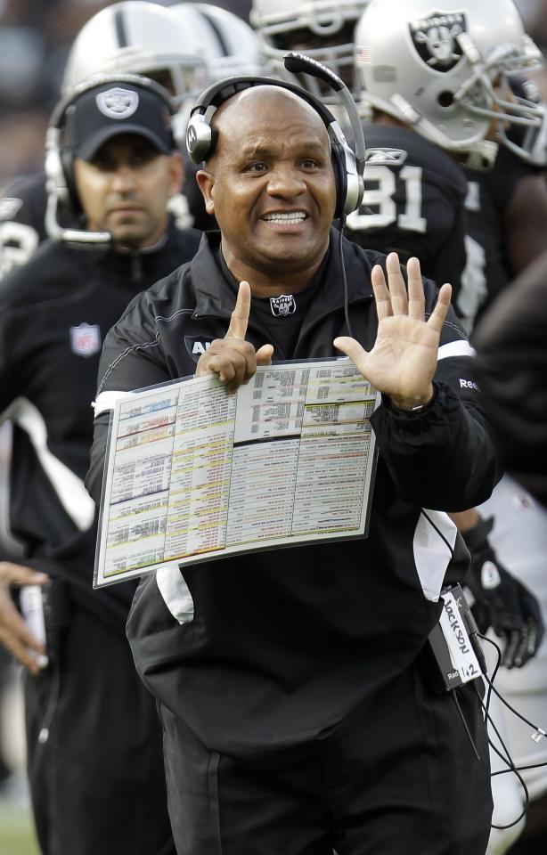 FILE - In this Nov. 27, 2011 file photo, Oakland Raiders coach Hue Jackson calls and signals to an official during the second quarter of an NFL football game against the Chicago Bears in Oakland, Calif. A person with knowledge of the situation says the Raiders have fired coach Jackson after one season and a disappointing 8-8 record. ESPN first reported Jackson's firing. The person spoke to The Associated Press on the condition of anonymity Tuesday, Jan. 10, 2012, because the move had not yet been announced ahead of the Raiders' scheduled 2 p.m. PST news conference to introduce new general manager Reggie McKenzie. (AP Photo/Paul Sakuma)