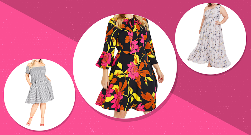 Stylish plus-size dresses to wear this Easter. (Photo: left to right, Nordstrom, Simply Be, Torrid, Art: Yahoo Lifestyle photo-illustration)