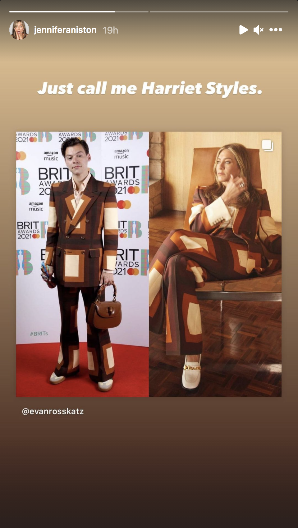 Photos of Harry Styles and Jennifer Aniston wearing the same pantsuit are pictured side by side in this screenshot from Jennifer Aniston's latest Instagram Story