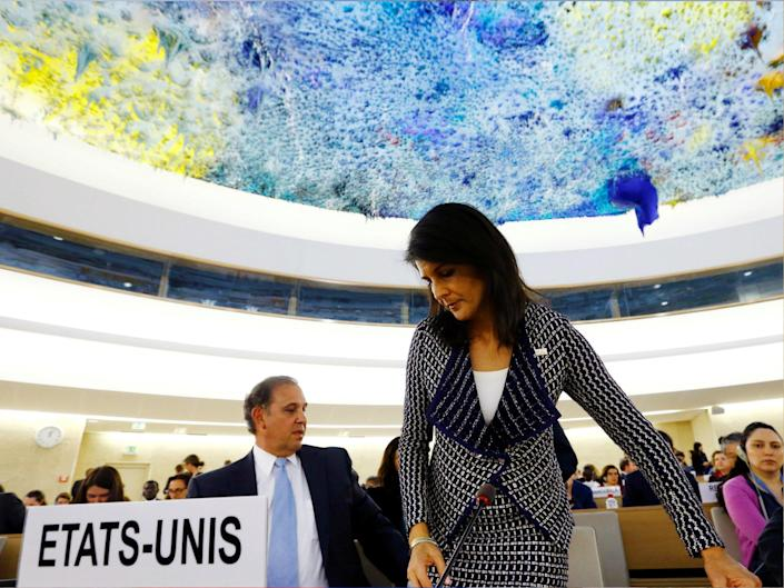US Ambassador to the United Nations Nikki Haley leaves after addressing the United Nations Human Rights Council in Geneva, Switzerland 6 June 2017: REUTERS/Denis Balibouse