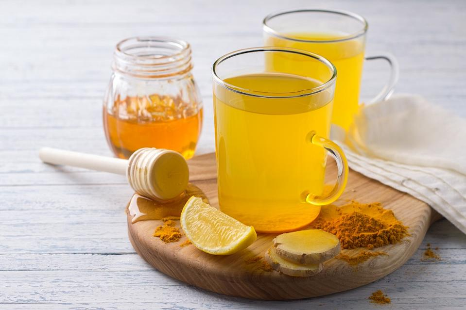 Immunity boosting drink with turmeric, ginger, lemon and honey