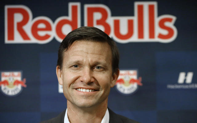 FILE - In this March 3, 2015, file phtoo, New York Red Bulls head coach Jesse Marsch poses for photographers during the team's media day in New York. Marsch has left the Red Bulls to pursue other opportunities. We are fully supportive of Jesse and his decision to pursue a new opportunity, said Red Bulls Sporting Director Denis Hamlett. The Red Bulls have promoted Chris Armas to head coach, effective immediately, the team said Friday, July 6, 2018.(AP Photo/Kathy Willens, File)