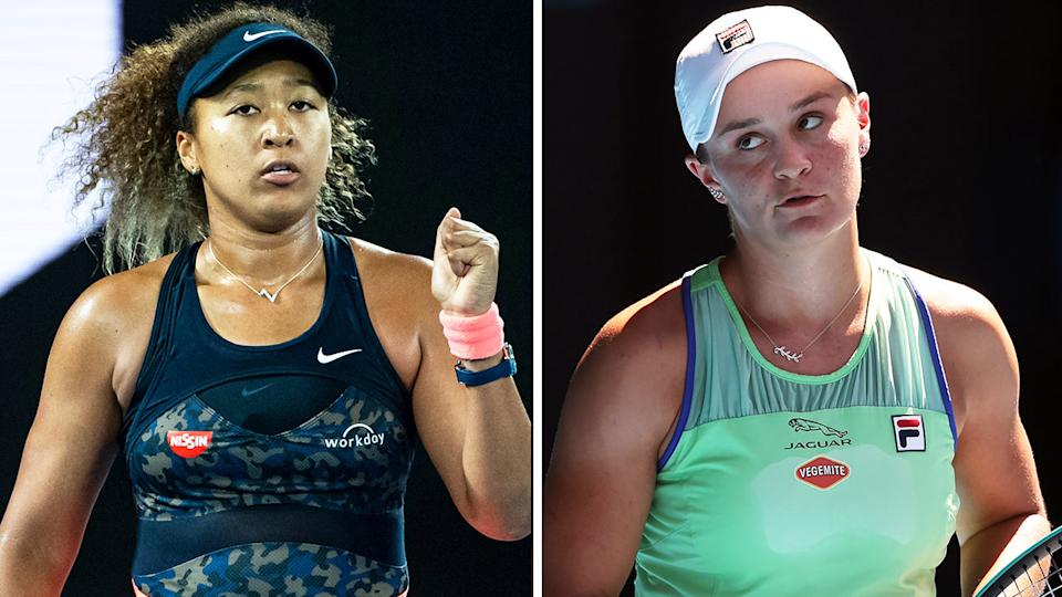World No.1 Ash Barty (pictured right) looking at her player's box and Naomi Osaka (pictured right) fist-pumping.