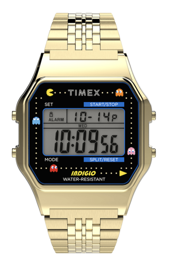 gold 80s watch pacman