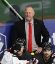 Canada's head coach Gerard Gallant reacts during the Ice Hockey World Championship group B match between Germany and Canada at the Arena in Riga, Latvia, Monday, May 24, 2021. (AP Photo/Sergei Grits)