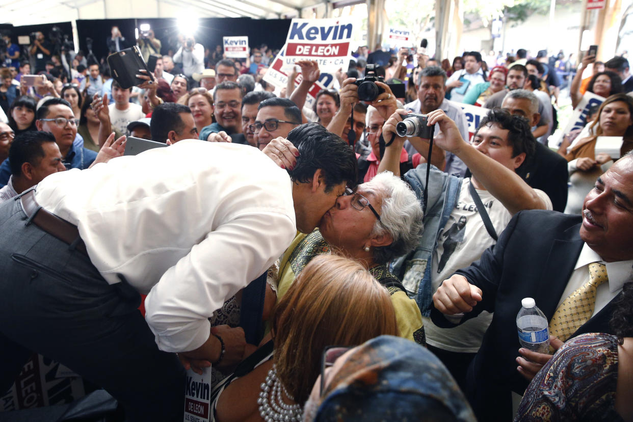 De León gets a kiss from a supporter during an event held to formally announce his run for U.S. Senate in October 2017. (Photo: Jae C. Hong/AP)
