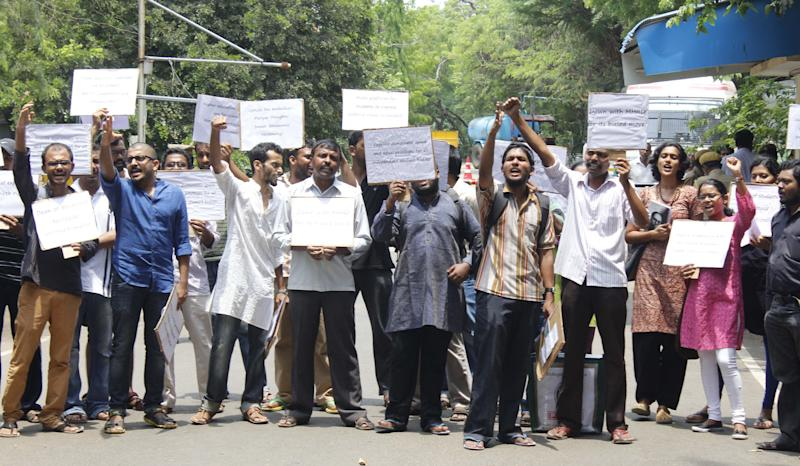 MADRAS,INDIA JUNE 02: Students protest inside the IIT Madras campus against the ban on Ambedkar Periyar Students Circle.(Photo by Jaison G/The India Today Group via Getty Images) (Photo: The India Today Group via Getty Images)