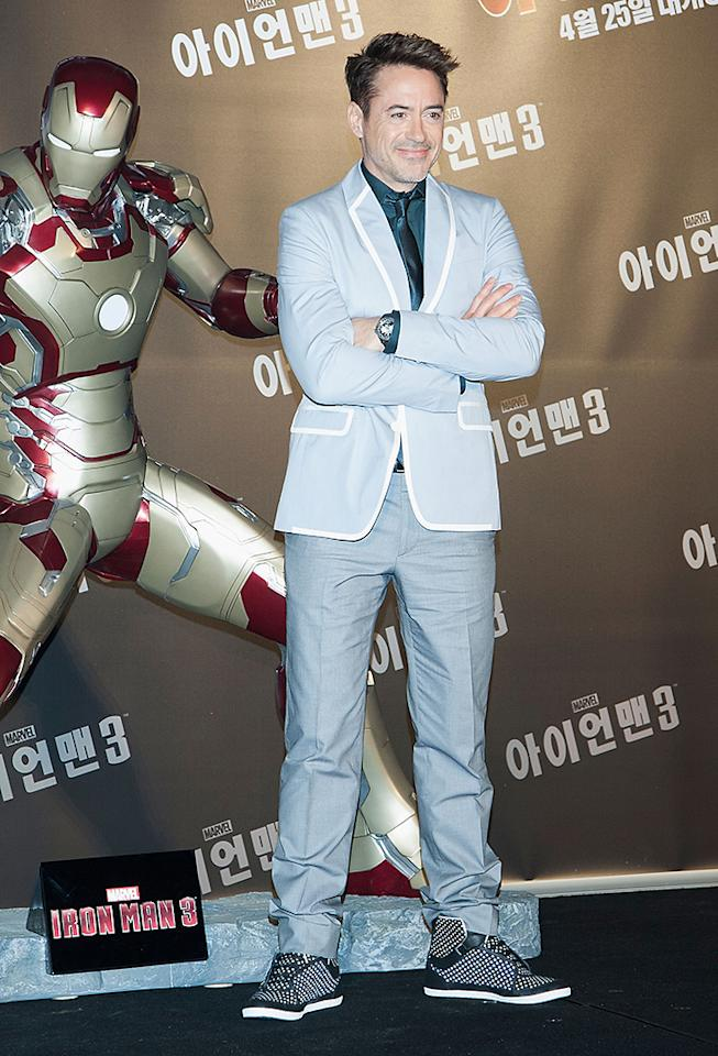 SEOUL, SOUTH KOREA - APRIL 04:  Actor Robert Downey Jr. attends during the 'Iron Man 3' press conference at Conrad Hotel on April 4, 2013 in Seoul, South Korea. Robert Downey Jr. is visiting South Korea to promote his recent film 'Iron Man 3' which will be released on April 25 in South Korea.  (Photo by Han Myung-Gu/WireImage)