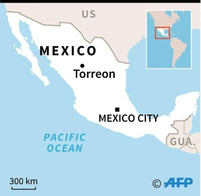 Map of Mexico locating attack on teacher by young child in torreon (AFP Photo/)