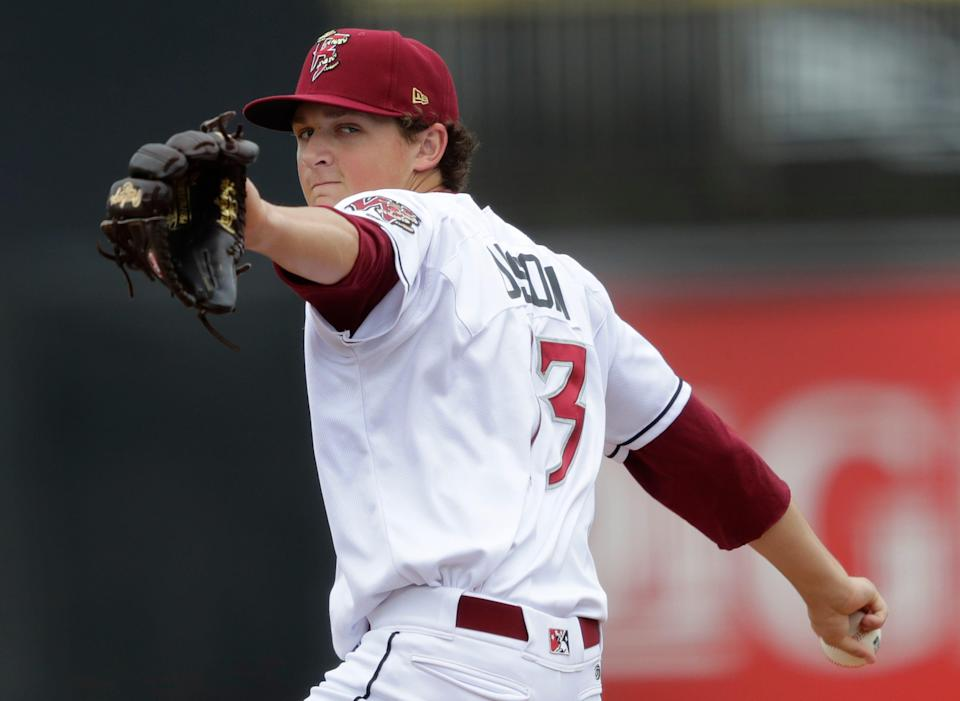 Wisconsin Timber Rattlers' Reese Olson (13) pitches against the Quad Cities River Bandits during their baseball game Thursday, July 7, 2021, at Neuroscience Group Field at Fox Cities Stadium in Grand Chute, Wis. The Wisconsin Timber Rattlers won 8-7.Dan Powers/USA TODAY NETWORK-Wisconsin